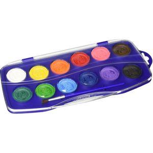 Acuarela 12 Colores escolar con pincel