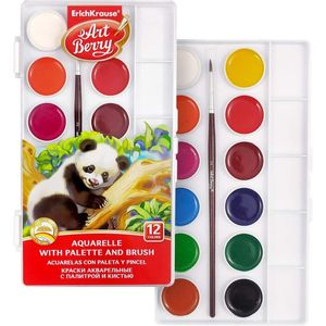 Acuarela 12 Colores con pincel y paleta