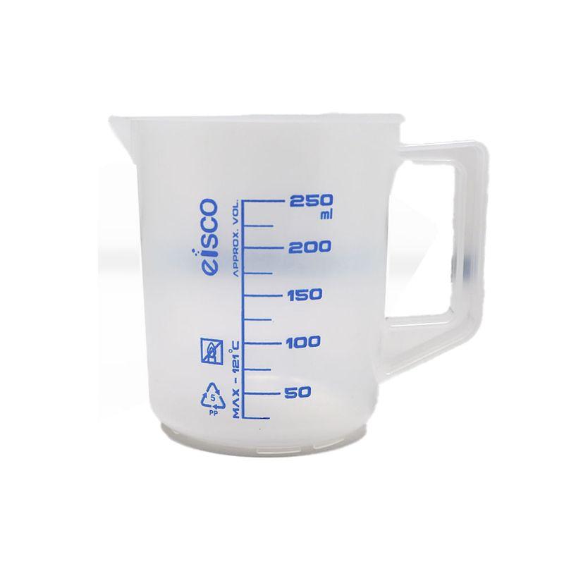 Vaso-250ml-con-mango-escala-azul