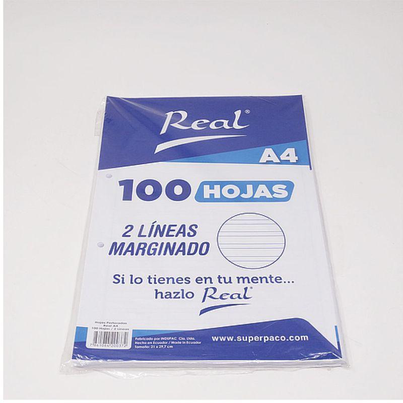 Papel-Marginado-2-Lineas-A4-100H