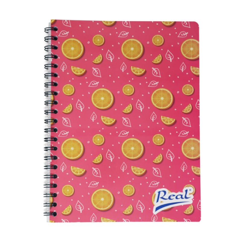 Cuaderno-espiral-A5-100hjs-cuadros-economico-Naranja-Rosa